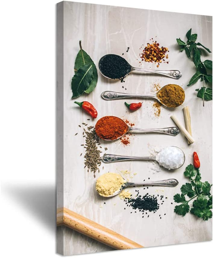iHAPPYWALL Kitchen Picture Wall Decor Spoons of Spices Colorful Vintage Still Life Food Artwork Print on Canvas For Dining Room and Restaurant Decoration Stretched and Framed Ready to Hang 24x36inch