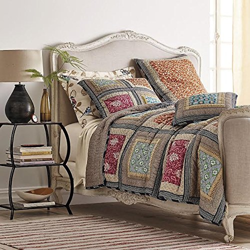 Cotton Quilt Bedspread Set, Multi-Colored, Queen, 3-Pieces