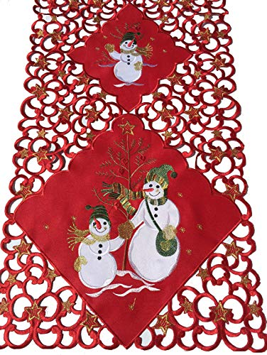 (Brilliant Home Design Embroidered Christmas Table Runner Featuring Snowman and Stars on a Colorful Red Background, Cut-Out Runner with Sparkling Ornamented Golden Thread (15'' x 70'') )