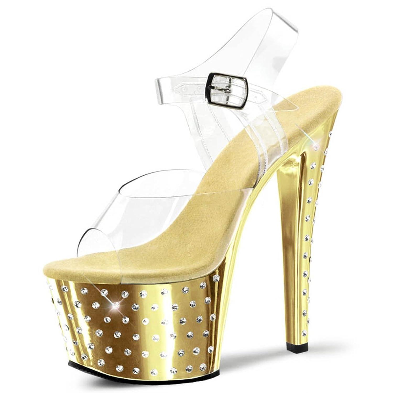 Amazon.com | Shiny Gold Sandals with Encrusted Rhinestone Base and ...