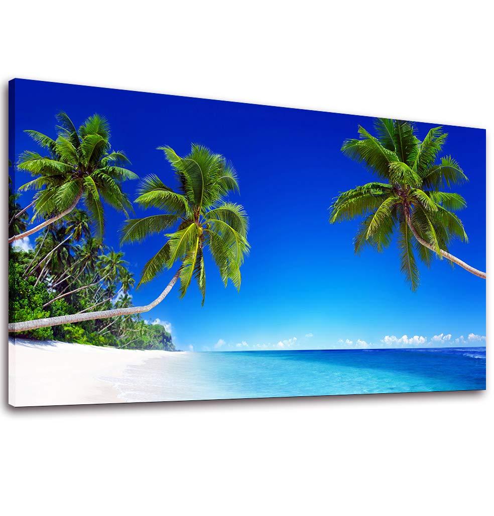 Canvas Wall Art Blue Beach Palm Tree Painting Print - 20