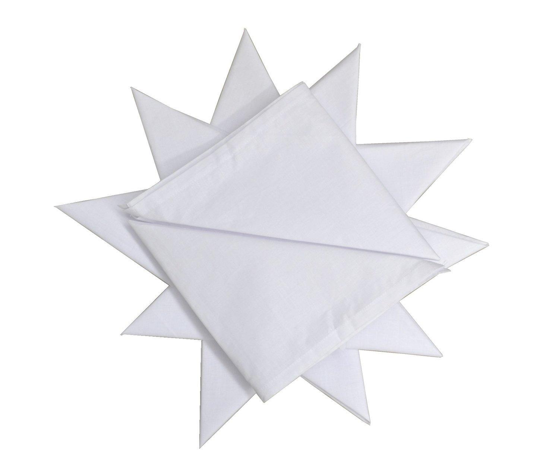 White 12-Piece Dudu N Girlie Hemmed Stitch Men Cotton Handkerchief 40 cm x 40 cm