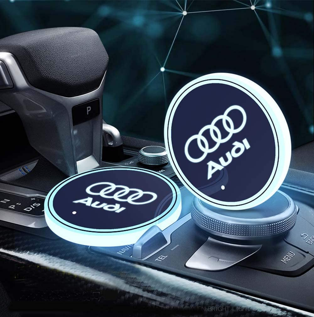 7 Colors Changing USB Charging Mat Luminescent Cup Pad 2pcs LED Car Cup Holder Lights for BMW LED Interior Atmosphere Lamp