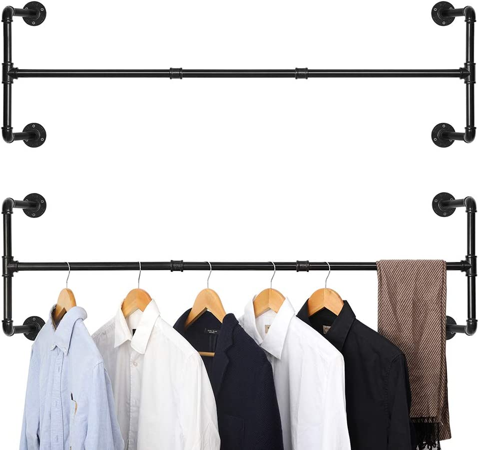 JS NOVA JUNS Wall-Mounted Clothing Rack, Set of 2, Industrial Pipe Clothes Rack, Double Black Iron Garment Bar, 43.7 x 12.6 x 12.6 Inches, Multi-Purpose Hanging Rod for Closet Storage