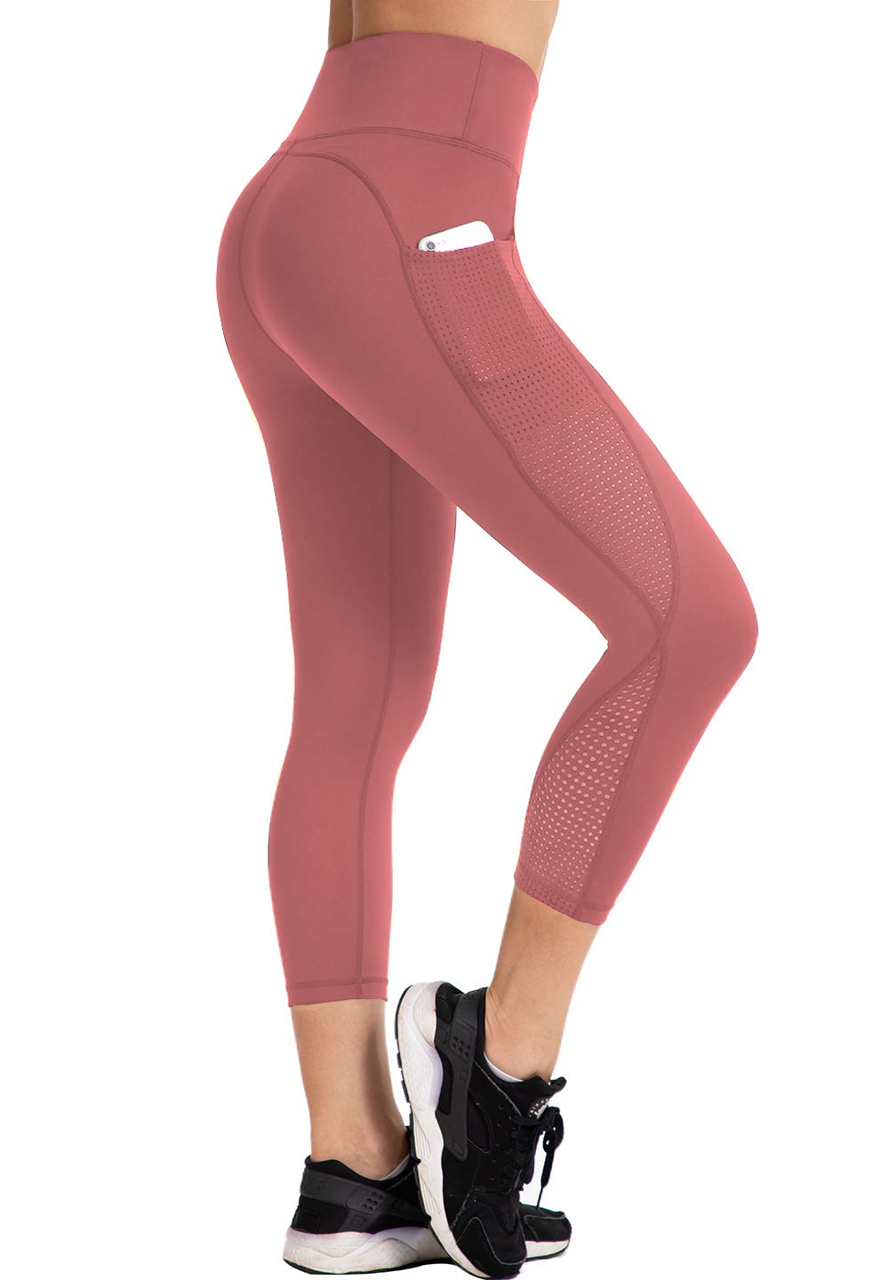 UURUN High Waisted Yoga Pants Capri Workout Leggings for Women with Pockets Tummy Control Non-See-Through Mesh Running Compression Capris for Fitness Gym Athletic Pink-S by UURUN