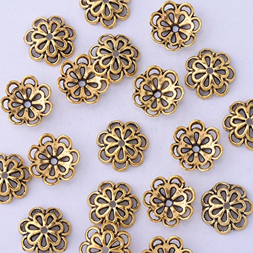 50pcs 12mm hollow out flower vintage beads cap,filigree beads cap,end cap,flower spacer metal beads,Antique - Metal Gold Antique Bead