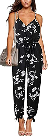 Women Casual V Neck Rompers Sleeveless Strap Floral Slit Jumpsuit with Pockets