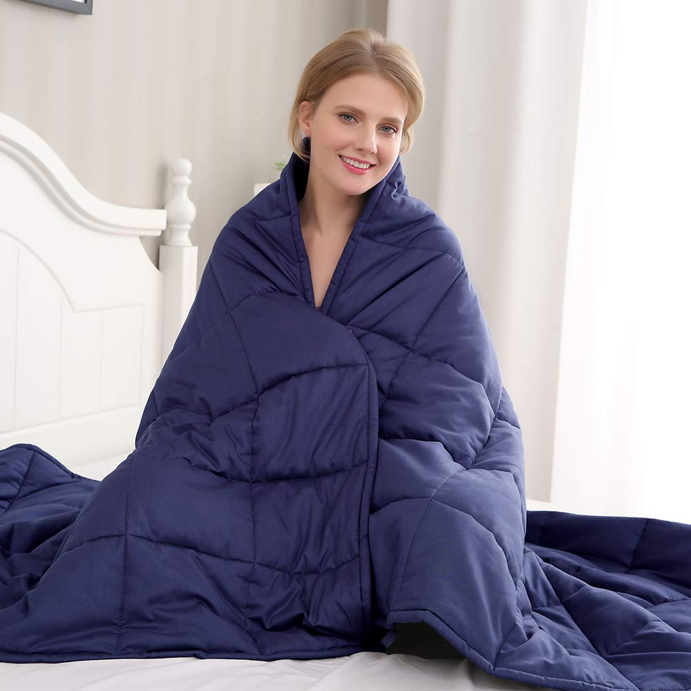 Amy Garden 7 Layers Breathable 100% Cotton Preminum Weighted Blanket (60''x80'',15 lbs for 120-180 lbs Individual, Navy)   2.0 Adults Heavy Blanket