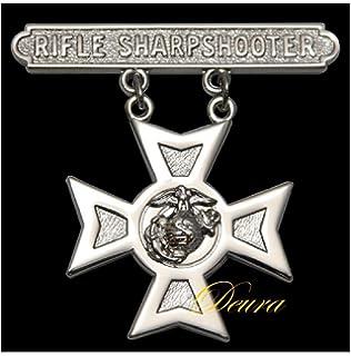 Made in USA USMC Marine Corps Qualification Badge Rifle Sharpshooter    NEW