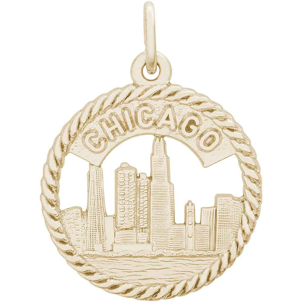 Rembrandt Charms Chicago Skyline Charm, 14K Yellow Gold