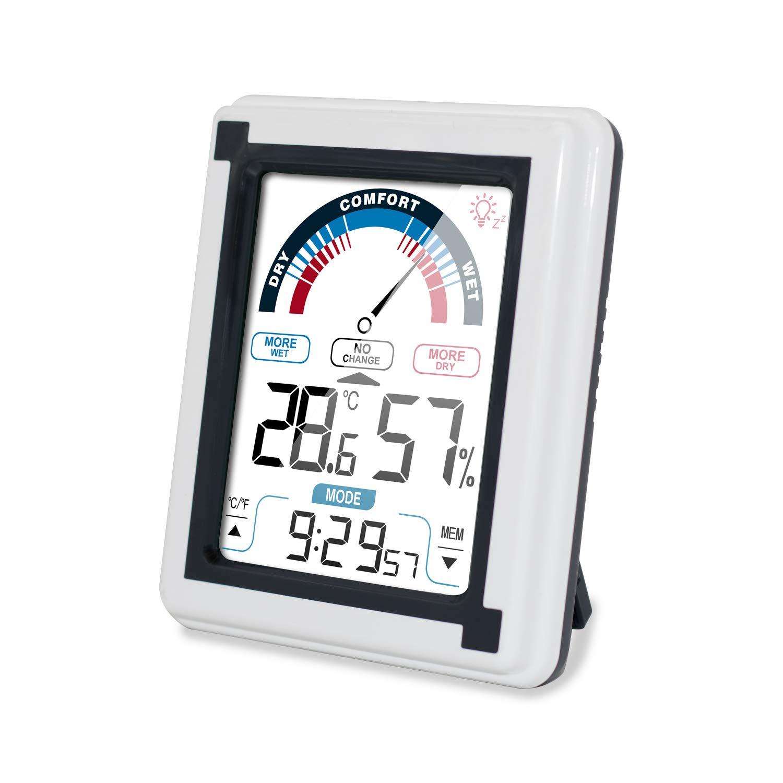 IFOXTEK Digitales Innen Thermo-Hygrometer,Mini Wetterstation mit Raumthermometer Wecker, Digital Thermometer Hygrometer Zimmerthermometer