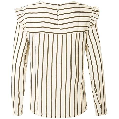 W Coster Amazon Blusa Mujer Para es Stripe Copenhagen Top Ruffle FxtZRqw