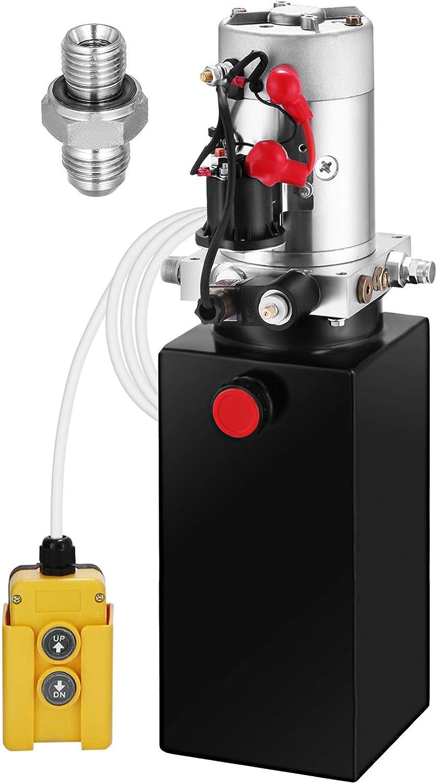 BuoQua Bomba Hidráulica de Acción Simple 8L Remolque de Descarga de 12V Depósito de Metal de 8L para Remolque de Descarga Bomba de Remolque Unidad de Potencia Hidráulica Accesorios