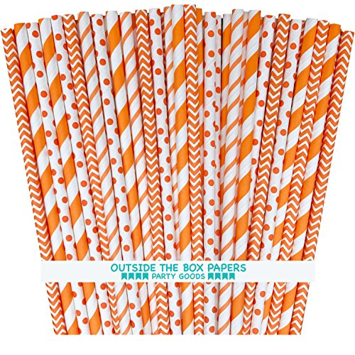 Outside the Box Papers Striped Chevron and Polka Dot Paper Straws 7.75 Inches 100 Pack Orange, White