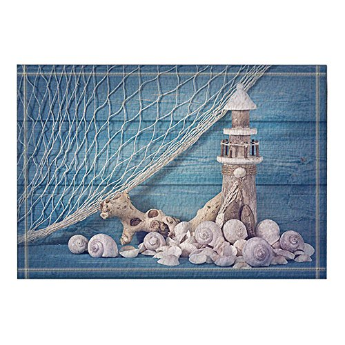 NYMB Blue Background, Fishing Nets, Wooden Lighthouses and Shells Bath Rugs, Non-Slip Doormat Floor Entryways Outdoor Indoor Front Door Mat, Kids Bath Mat, 15.7x23.6in, Bathroom Accessories