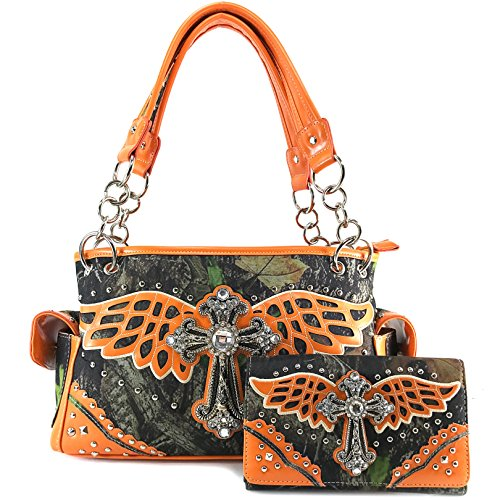 Orange Cross (Justin West Camouflage Tree Branches Bling Rhinestone Buckle/Cross Shoulder Concealed Carry Handbag Purse (Orange Cross Wing)