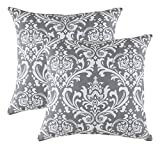 Decorative Pillow Cover - TreeWool, Cotton Canvas Damask Accent Decorative Throw Pillow Covers (Pack of 2 Cushion Covers; 20 x 20 Inches; Graphite Grey & White)