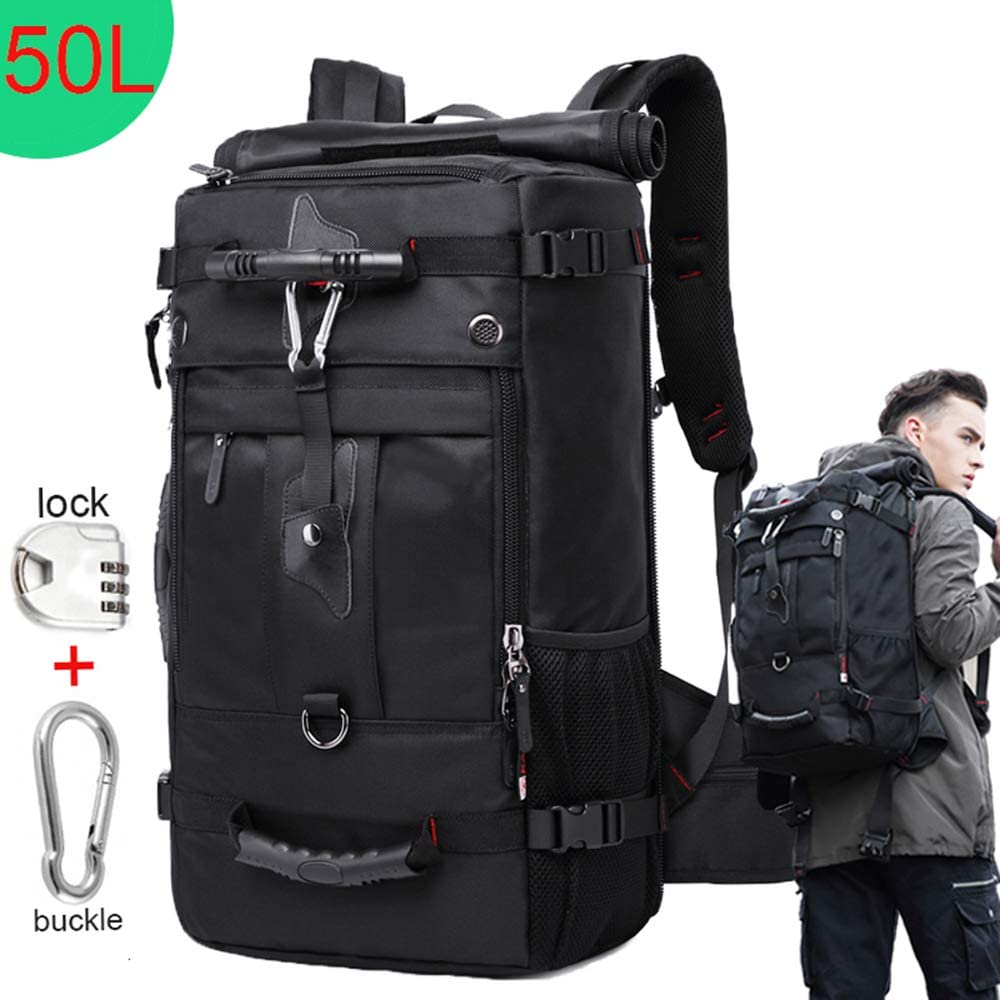 Large Capacity Travel Backpack Waterproof Men Women Outdoor Luggage Bags 40L~50L 17.3 Laptop Bag (Black 50L)