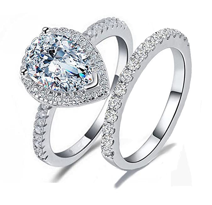 Review Venetia Top Grade 2 Carats Realistic Super Brilliant NSCD Simulated Diamond Tear Drop Pear Shape Ring Band Set Solid 925 Silver Platinm Halo Pave Gorgeous Fire