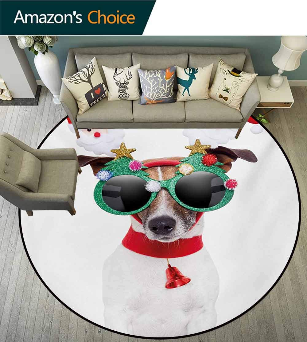 RUGSMAT Christmas Carpet Gray Round Area Rug,Funny Puppy Jack Russel Dog with Hilarious Sunglasses Santa Figures and Bell Pattern Floor Seat Pad Home Decorative Indoor,Diameter-59 Inch