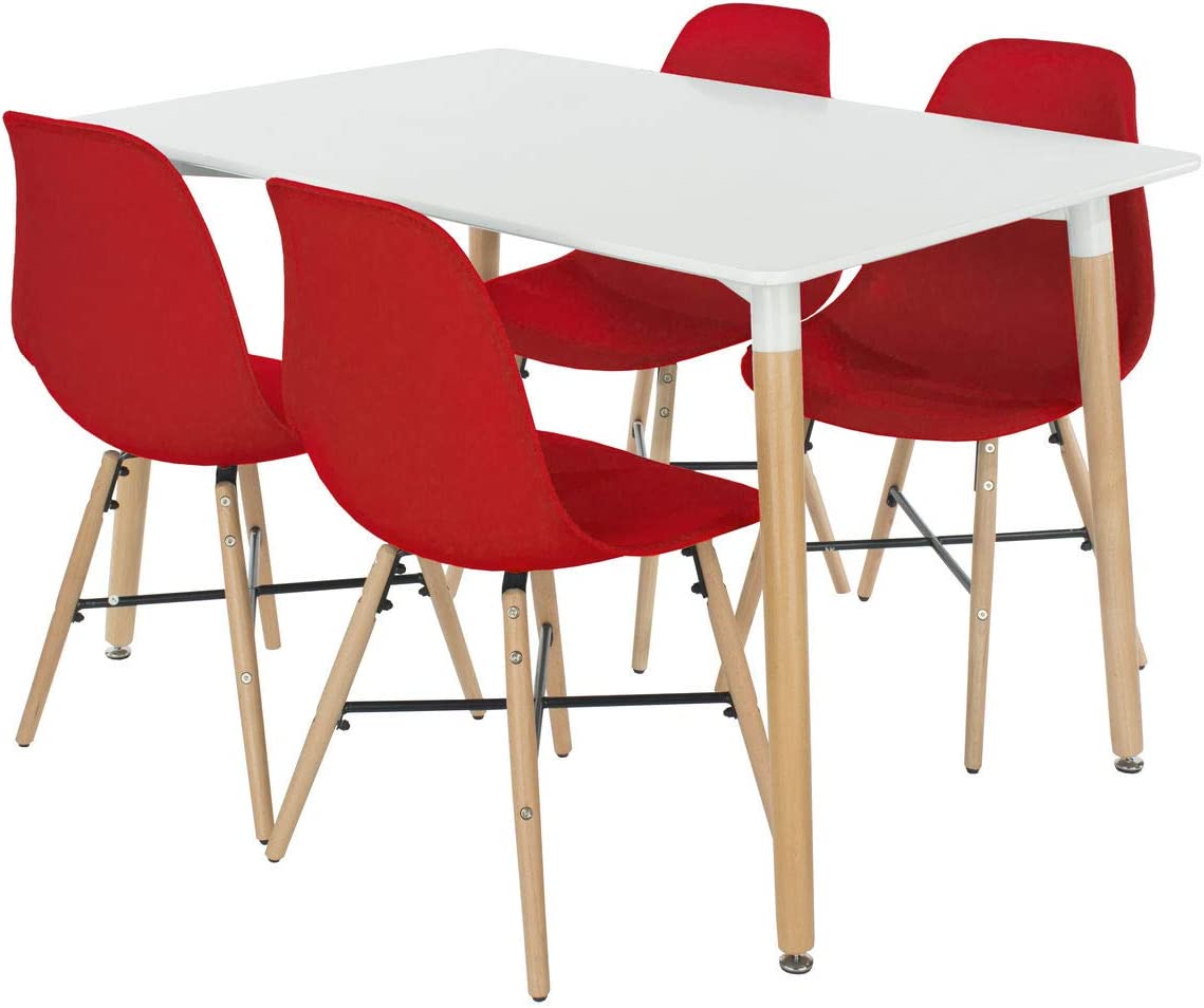 Design Vicenza Asti rectangular table with wooden legs white