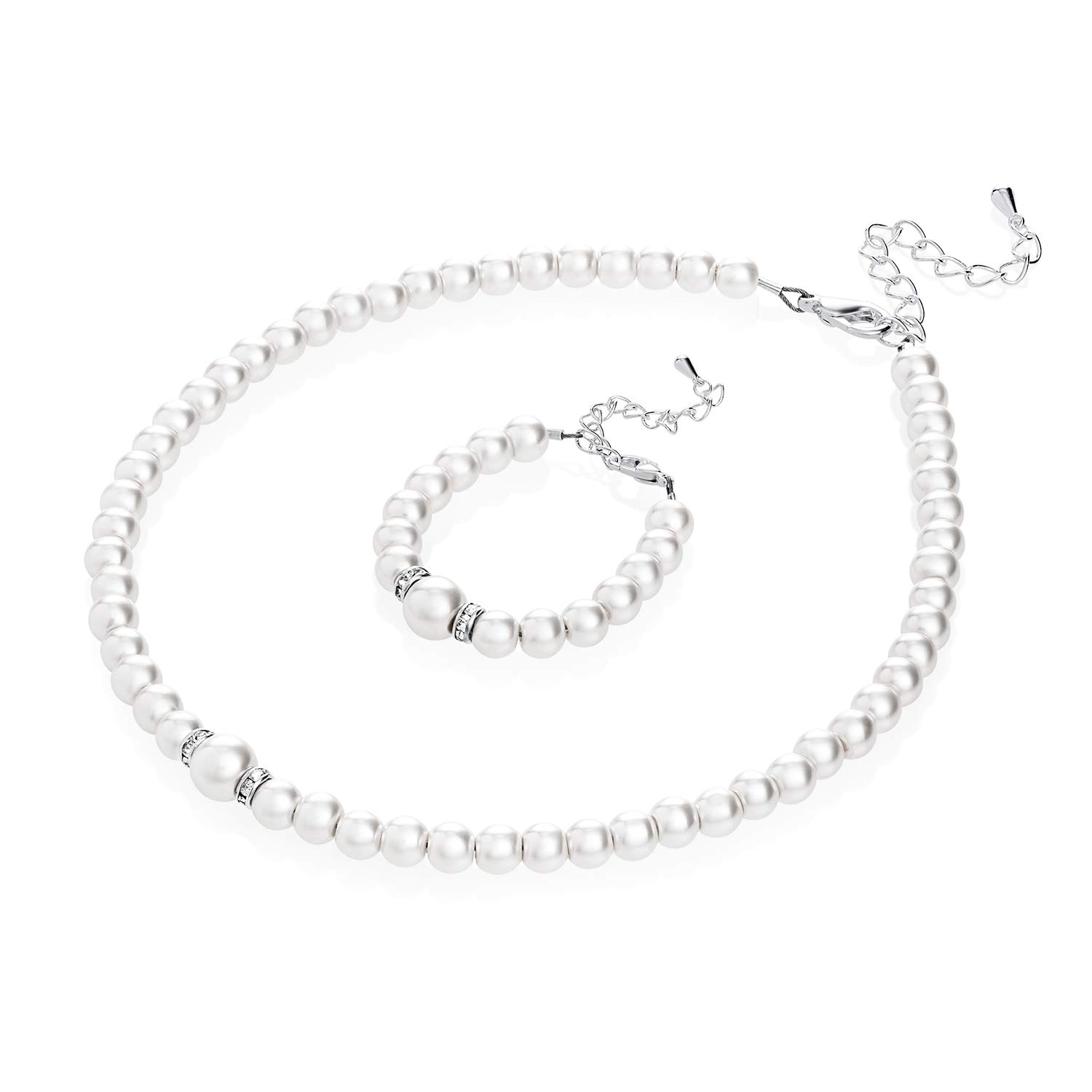 Crystal Dream Elegant Sterling Silver Roundels Keepsake Baby Girl Bracelet and Necklace Gift Set with Swarovski White Simulated Pearls (GSNB131_M)