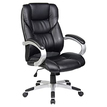 CHESTER BLACK HIGH BACK EXECUTIVE OFFICE CHAIR LEATHER SWIVEL, RECLINE,  ROCKER COMPUTER DESK FURNITURE