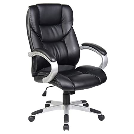 High Quality CHESTER BLACK HIGH BACK EXECUTIVE OFFICE CHAIR LEATHER SWIVEL, RECLINE,  ROCKER COMPUTER DESK FURNITURE