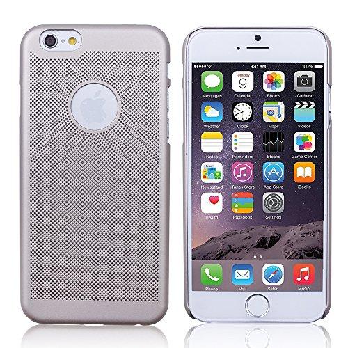 iProtect Premium Schutzhülle Apple iPhone 6, 6s (4,7 Zoll) Hard Case Grid Effect mit Logoaussparung - gold