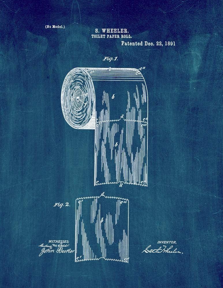 """Toilet Paper Roll Patent Print Midnight Blue (5"""" x 7"""") M11329"""