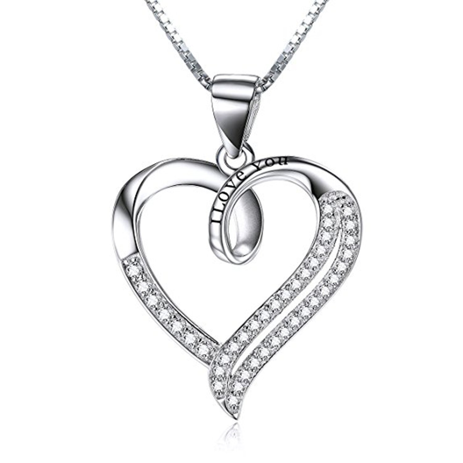 Suhana Jewellery Simulated Diamond Studded Fashion Promise Love Heart Pendant Necklace in 14K White Gold Plated With Box Chain