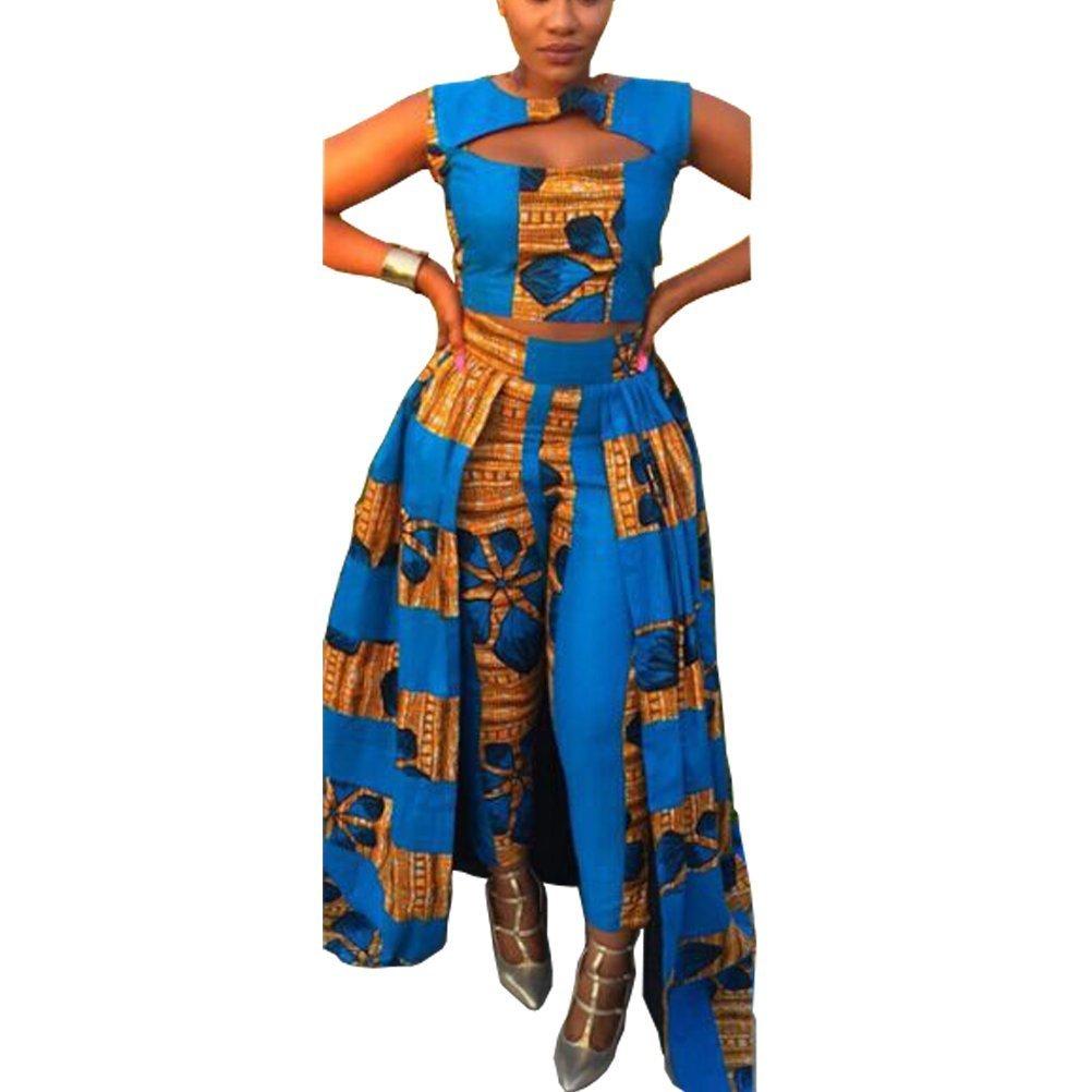 Sdgverhe Plus Size Dashiki Women 2 Piece Sets Traditional African Clothing (XL)