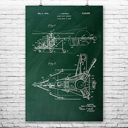 Patent Earth Sikorsky Helicopter Poster Print, Aircraft Blueprint, Aviation Design, Flying Schematic, Engineering Gifts, Aeronautics Chalkboard (Green) (11