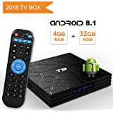 T9 Android 8.1 TV BOX, 4GB RAM 32GB ROM RK3328 Quad Core smart box supports 2.4Ghz WIFI USB 3.0 4K Resolution H.265 BT 4.1