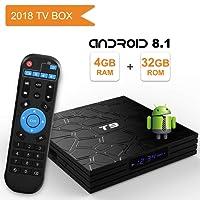 Android 8.1 TV BOX, Android Box con telecomando,Turewell T9 RK3328 Quad Core 64 bit 4 GB RAM 32 GB ROM Smart TV BOX, Wi-Fi integrato, Uscita HDMI, Box TV UHD 4K TV Box