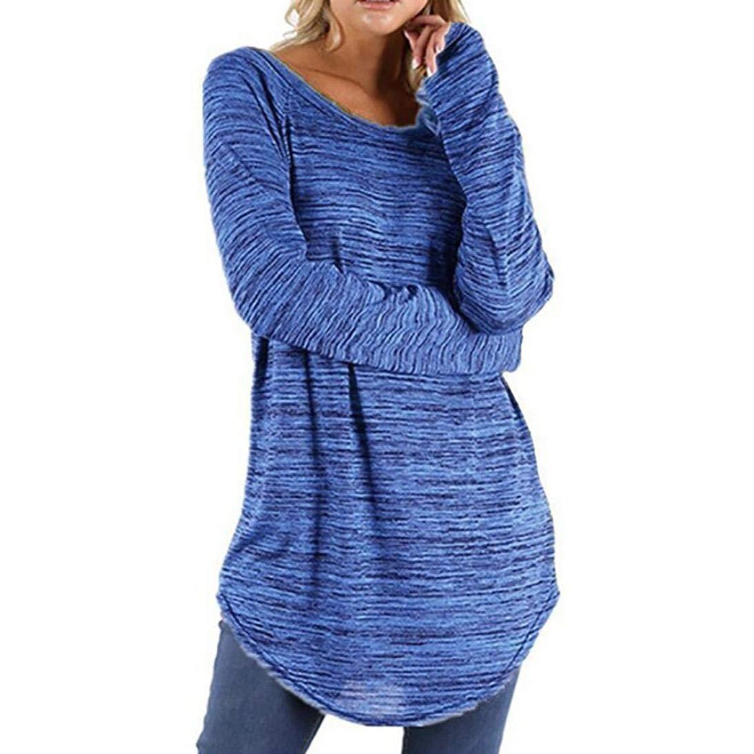 Yvelands Damen Frauen Plus Größe Einfarbig RounLange Bluse Pullover Tops Shirt