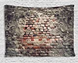 Ambesonne Rustic Home Decor Tapestry by, Ancient Worn Brick Wall with Stucco Vintage Grungy Illustration, Wall Hanging for Bedroom Living Room Dorm, 60WX40L Inches, Tile Red Black Grey