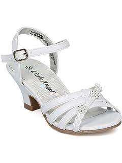 ec6f87a15d28 Alrisco Girls Open Toe Rhinestone Flower Ankle Strap Kiddie Heel Sandal HC28
