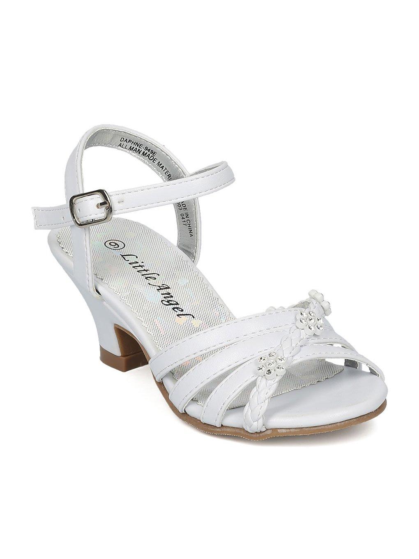 Alrisco Girls Open Toe Rhinestone Flower Ankle Strap Kiddie Heel Sandal HC28 - White Leatherette (Size: Little Kid 13)