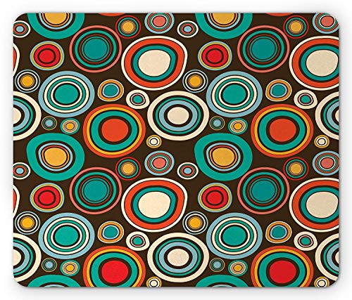 3' Round Bullseye - Retro Mouse Pad, Vintage Style Round Shapes Colorful Bullseye Circles Pattern on Dark Brown Background, Standard Size Rectangle Non-Slip Rubber Mousepad, Multicolor,8.66 x 7.08 x 0.118 Inches
