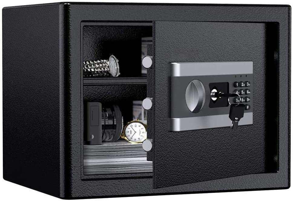 ETE ETMATE Safe Security Box, Digital Keypad and Key Lock for Cash Money Jewelry, Fireproof Waterproof Safe Cabinet with Induction Light(1.0cub)