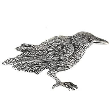 Sterling Silver Crow Raven Brooch Pin 1 7 8quot