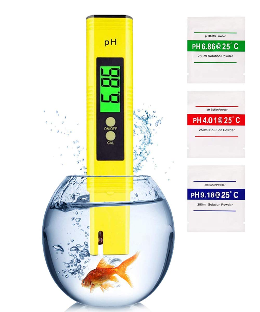 PH Meter for Water Hydroponics Digital PH Tester Pen for Food/Pool/Lab/Aquarium with 0.01 High Accuracy 0-14 PH Measurement Range Small Pocket Size Pen Design(Yellow)
