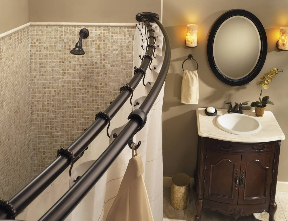 Amazon.com: Moen DN2141OWB Adjustable Double Curved Shower Rod ...