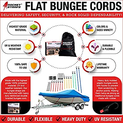 ROCKET STRAPS | (28PC) Flat Bungee Cords with Hooks | Bungee Cord Assortment Includes | Tie Downs | Ball Bungees | Carrying Bag | (4) Tarp Clips | 100% Latex Bungie Cord Straps