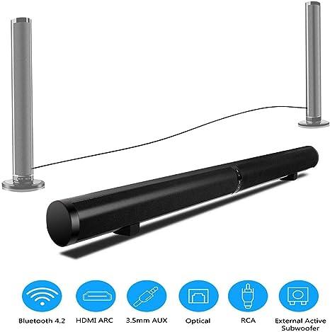 ZIHENGUO Barra de Sonido HiFi Bluetooth TV Altavoz Smart Sound 3D Remoto Estéreo Subwoofer Incorporado Teatro en la Pared montado en casa, Soporte RCA/AUX/Opt/USB: Amazon.es: Deportes y aire libre