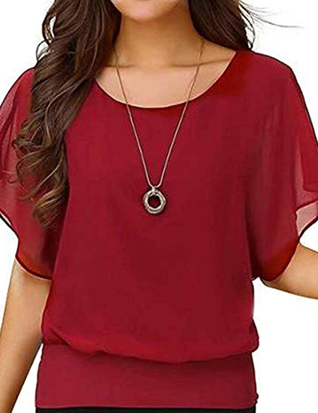 HOTUEEN Women Casual Round Neck Short Sleeve Large Size Chiffon Top Blouses