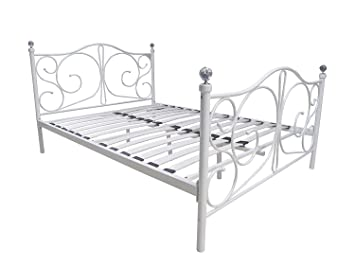 Comfy Living 4ft6 Double White Metal Bed Frame With Crystal Finials