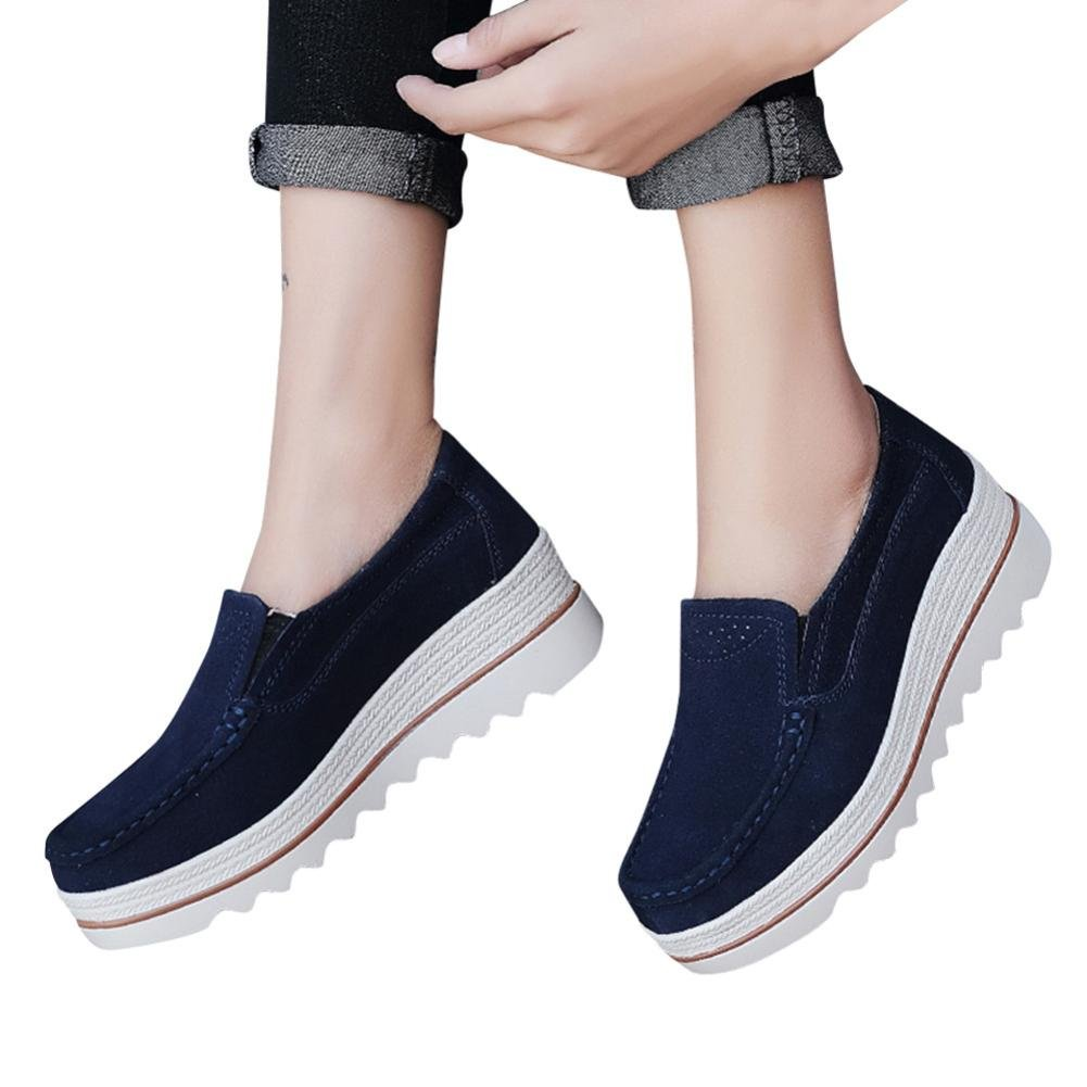 Todaies-Women Boots Clearance!Todaies Women Flats Muffin Shoes Sneakers Leather Casual Shoes Creepers Moccasins Shoes (US:8, Dark Blue)