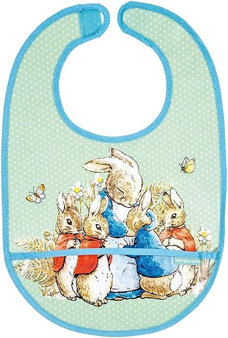 Petit Jour Peter Rabbit Coated grande babero de algodón - Verde (BP617BG): Amazon.es: Bebé